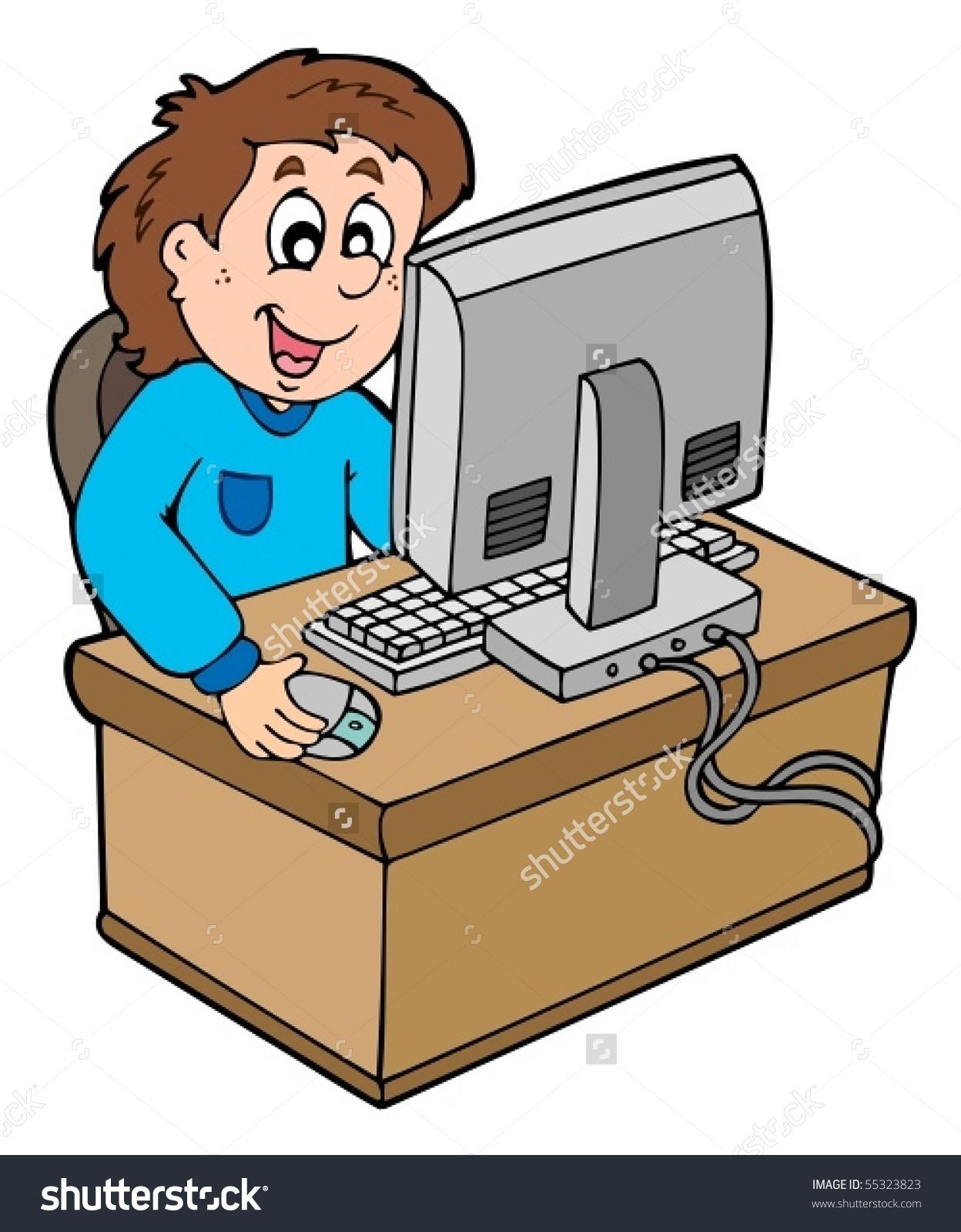 Cartoon Boy Working Computer Vector Illustration Stock Vector.