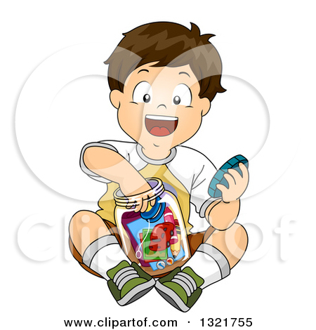 Boy Working On Time Machine Clipart.