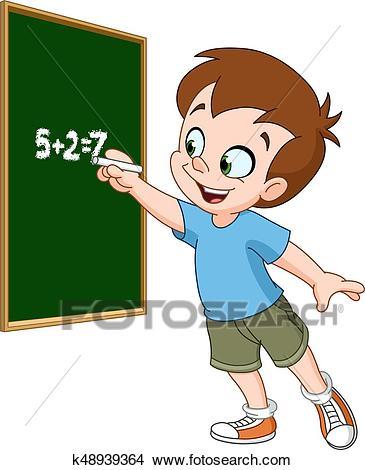 Boy writing on blackboard Clipart.