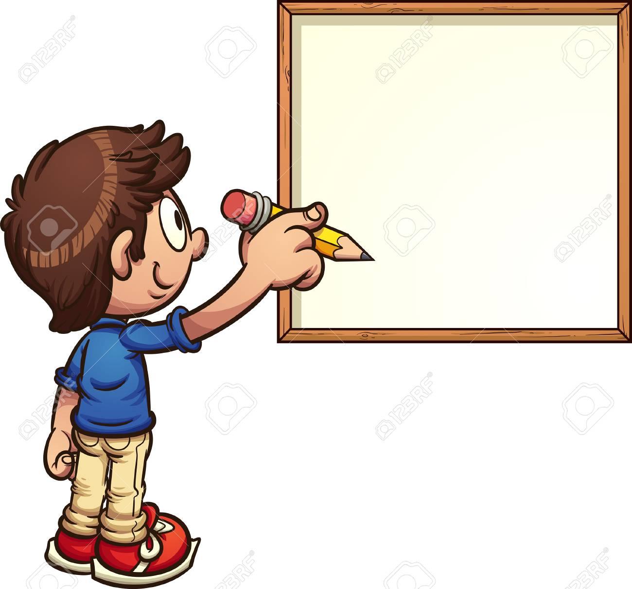 Cartoon boy writing on white board. Vector clip art illustration...