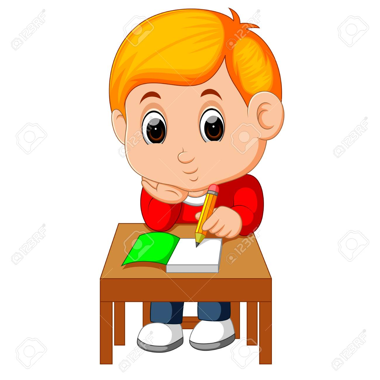 Cute boy writing and thinking be happy.