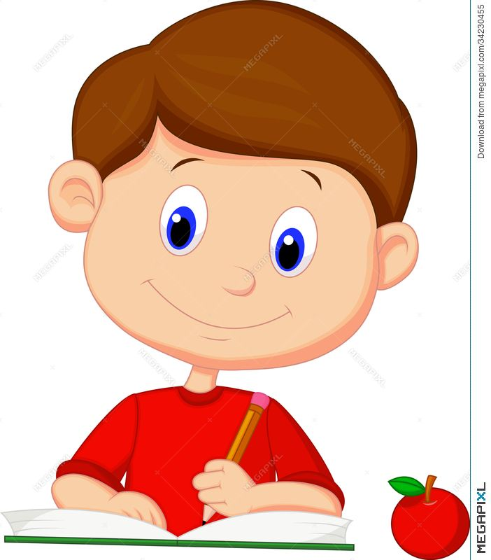 Cute cartoon boy writing on a book.