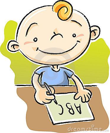 Boy Writing Clip Art.