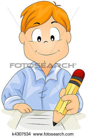 Drawings of Boy Writing k4307534.