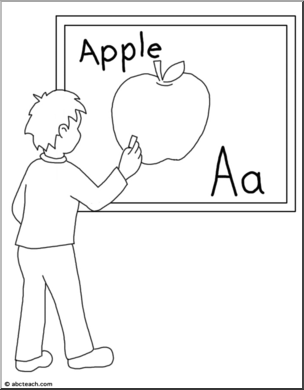 Child Writing on the Board Clip Art (B&W).