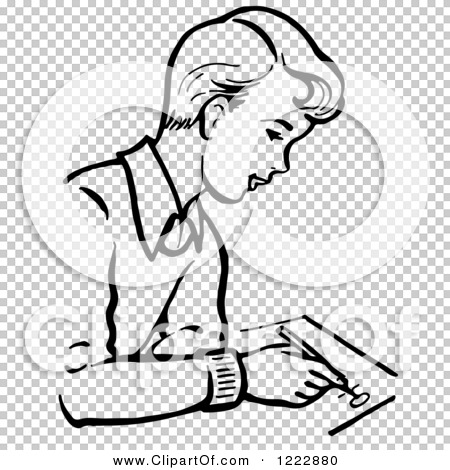 Clipart of a Retro Boy Writing in Black and White.