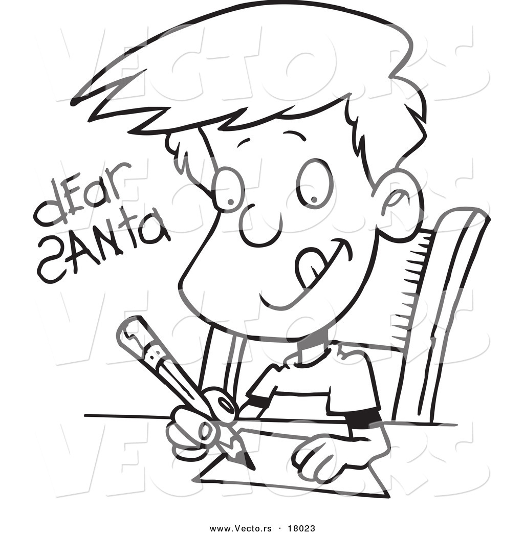 boy writing clipart black and white - Clipground