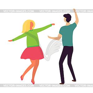 Passion Dance of Young Couple Boyfriend Girlfriend.