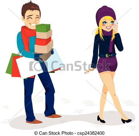 Vector Clipart of Boyfriend Carrying Shopping Bags.