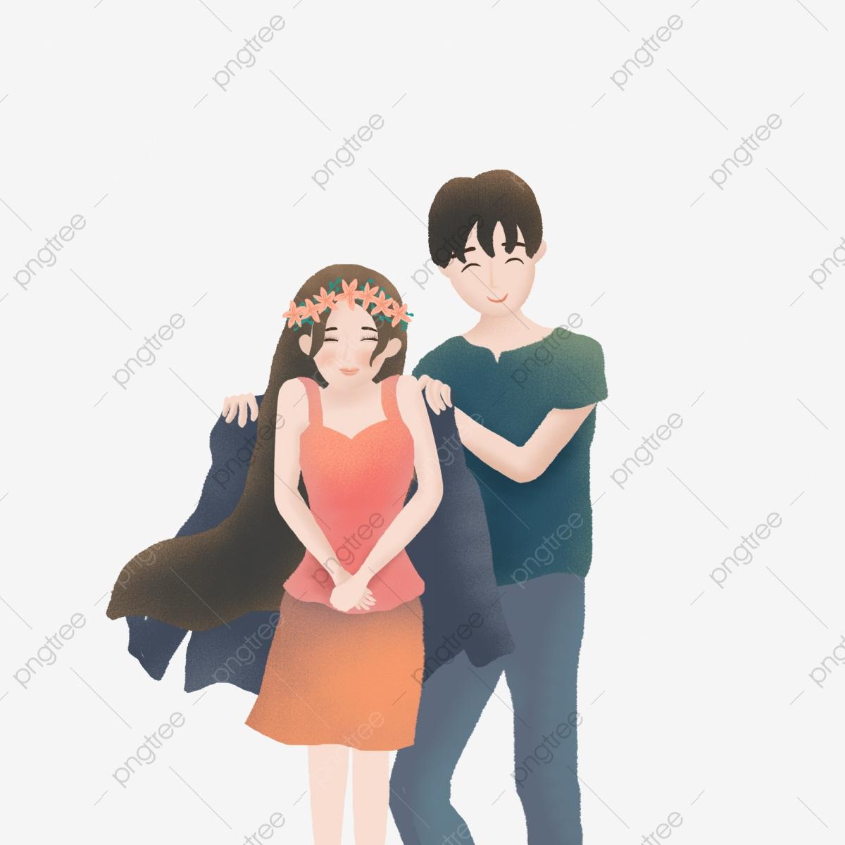 Boyfriend Element For A Girlfriend, Cloaked Coat, Boy, Girl PNG.