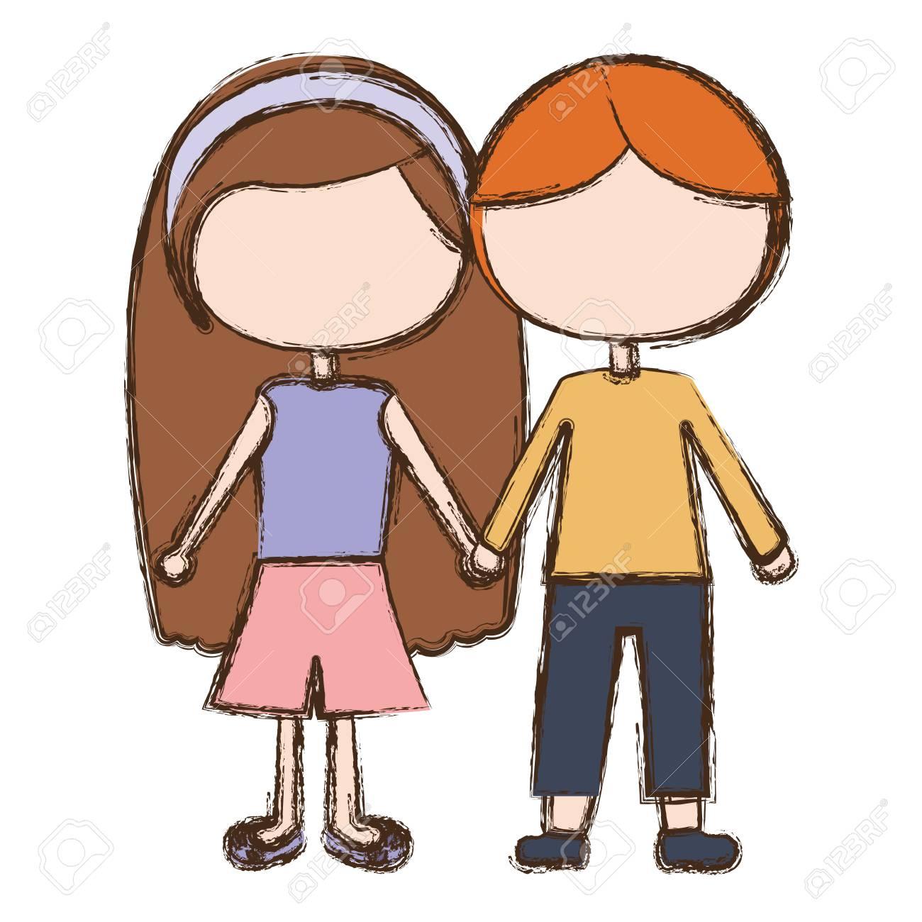 Boyfriend, Girlfriend vector illustration.