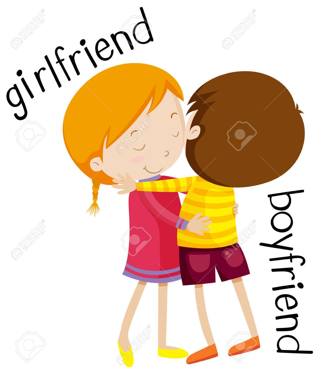 Girlfriend and boyfriend hugging illustration.