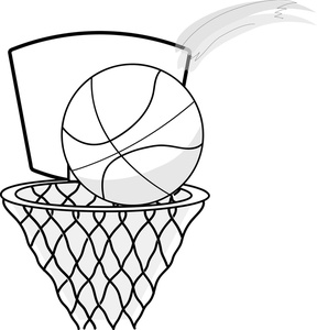 Basketball Hoop Clip Art Black and White.