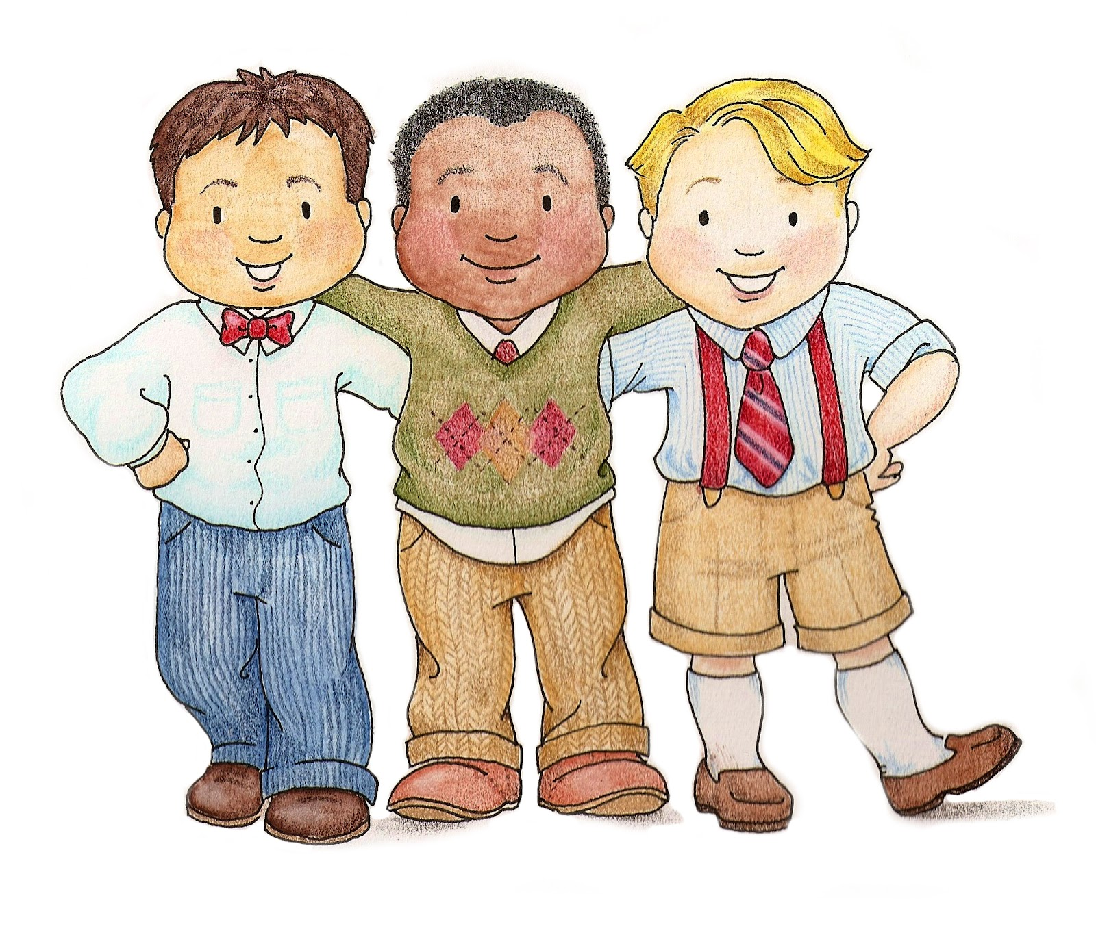 Three Boys Clipart.