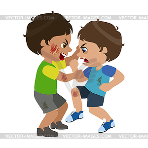 Two Boys Fighting And Scratching, Part Of Bad Kids.
