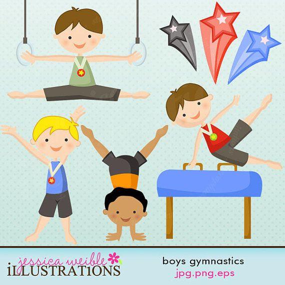 Boys Gymnastics Cute Digital Clipart.