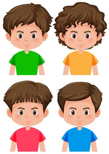 Set of boy character different hairstyle.