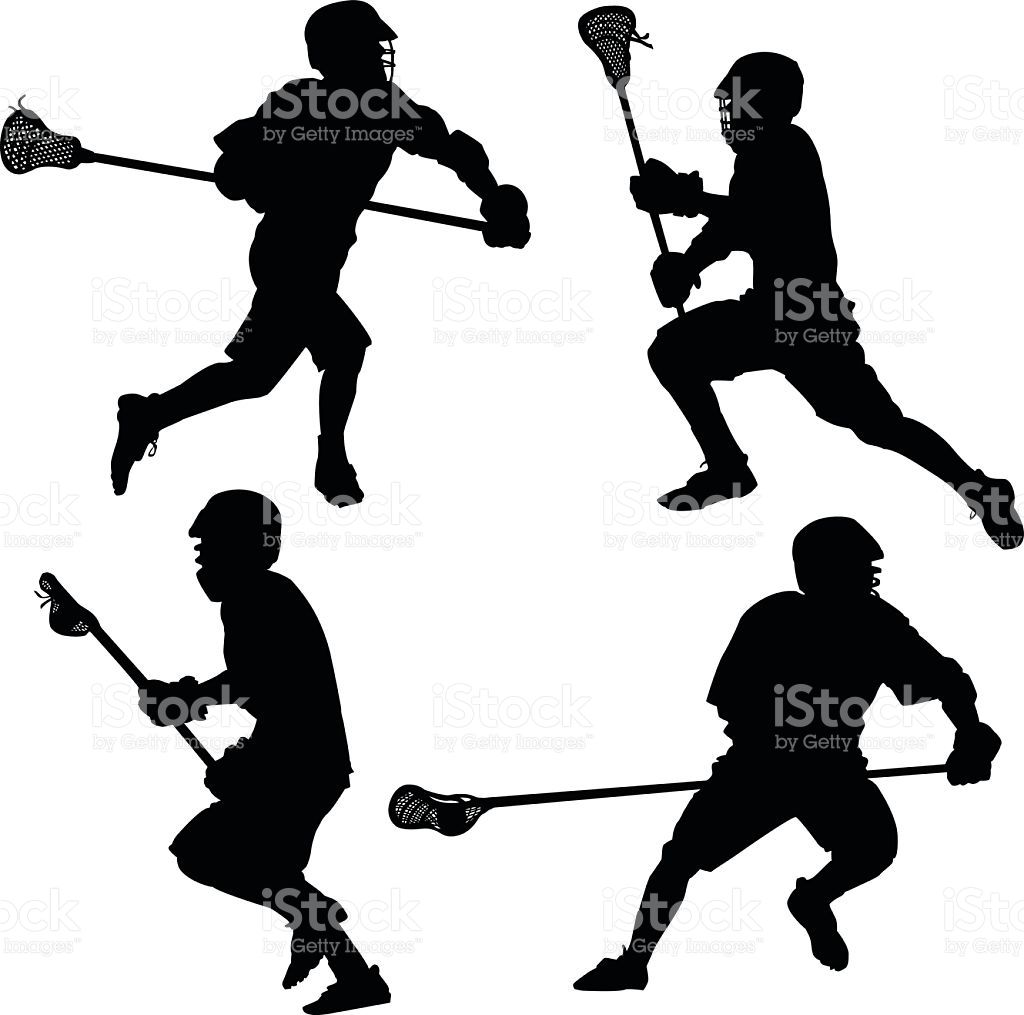 Silhouettes of teen boys defense lacrosse players..