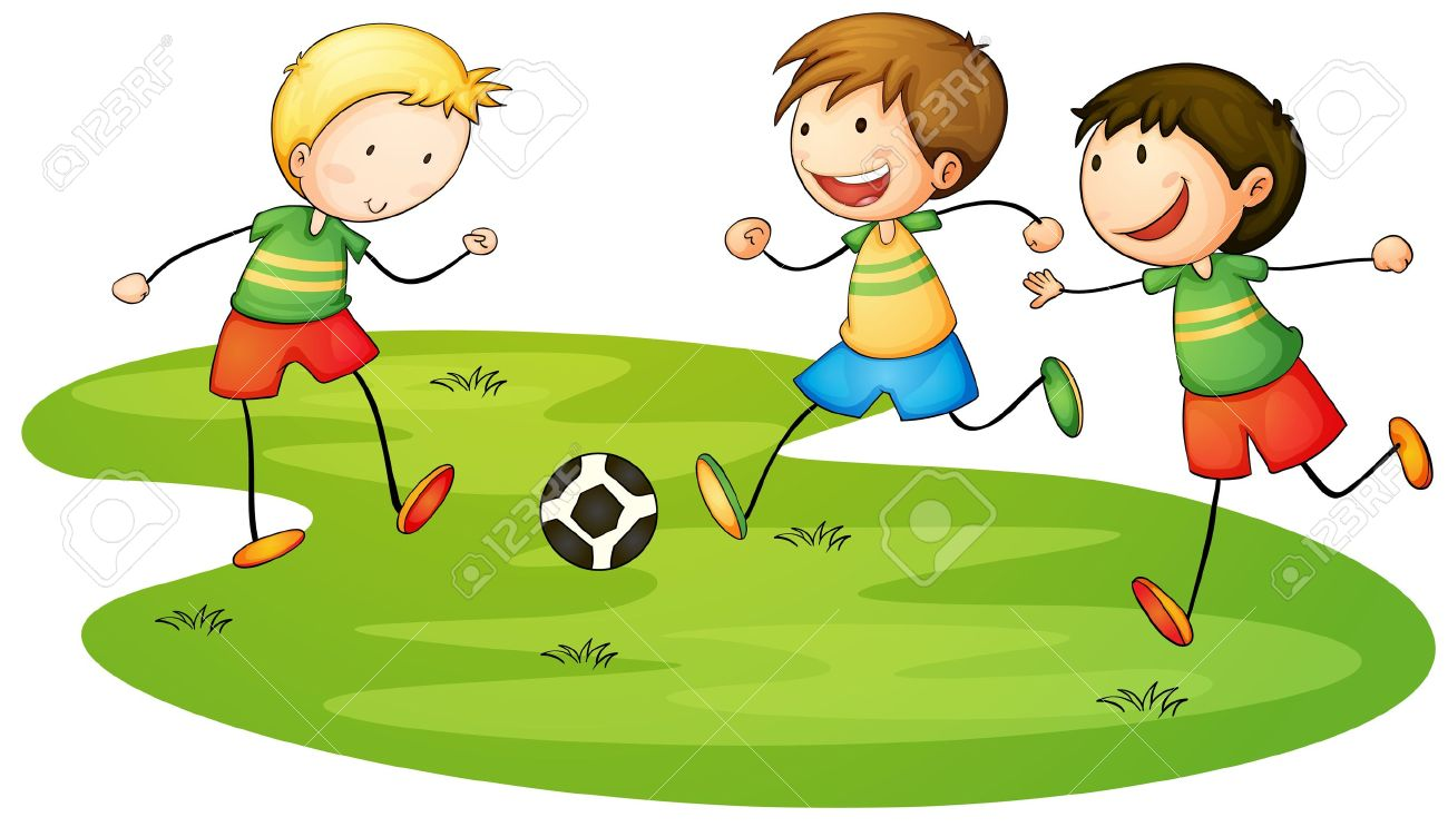 Kids Playing Soccer Clipart.
