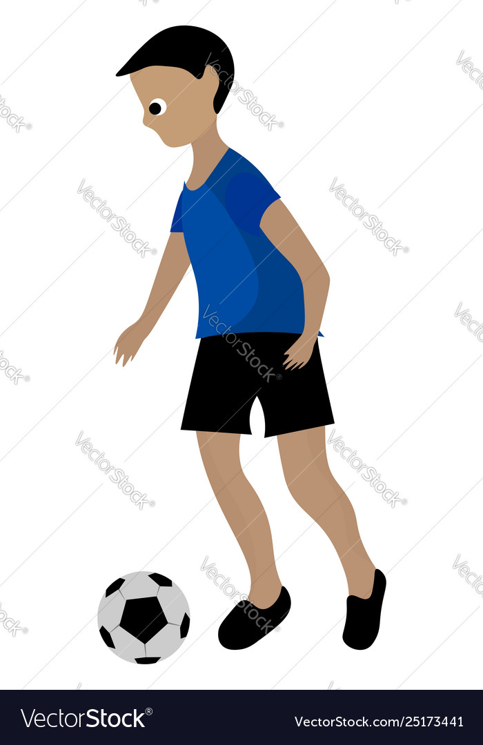 Clipart a boy playing soccer ball or color.