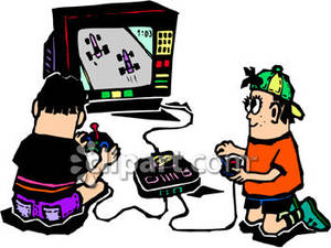 Boy Playing Video Games Clipart.