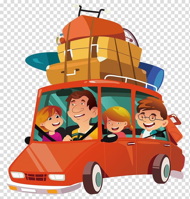 Family riding camper van art, Car Illustration, Self driving.