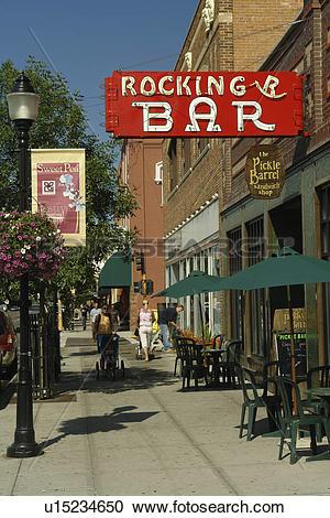 Stock Photography of Bozeman, MT, Montana, downtown, Rocking R Bar.