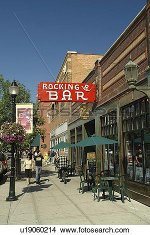 Stock Photo of Bozeman, MT, Montana, downtown, Rocking R Bar.