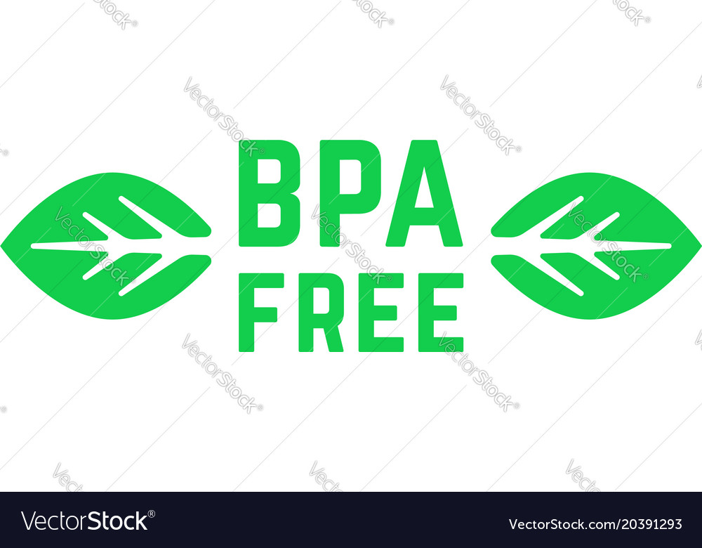 Simple green bpa free logo with leafs.