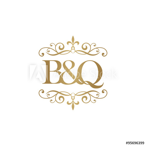 B&Q Initial logo. Ornament ampersand monogram golden logo.