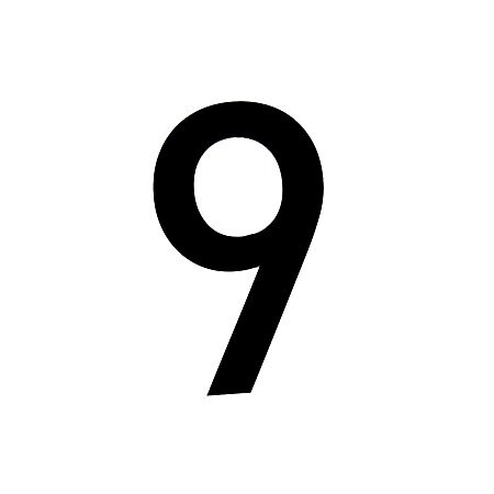 Black PVC 250mm House Number 9.