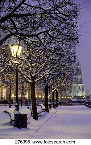 Stock Images of Frozen trees in front of church, Elbe River.