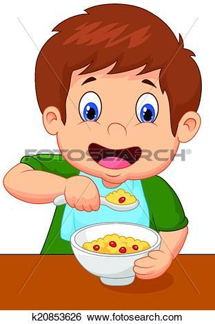 Clip Art of Boy cartoon is having cereal for br k20853626.