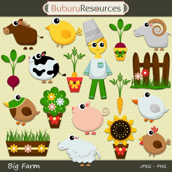 Big Farm clipart illustrations.