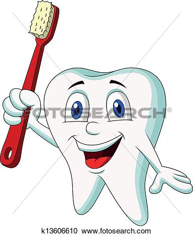 Clipart of Cute tooth cartoon holding tooth br k13606610.