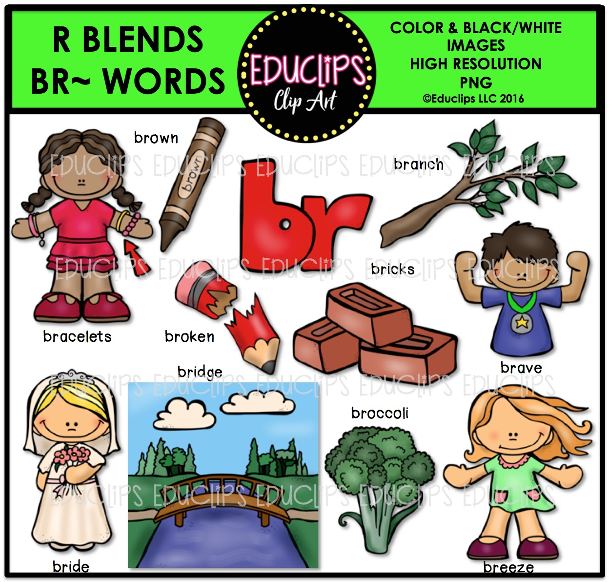 R Blends BR Words Clip Art Bundle (Color and B&W).