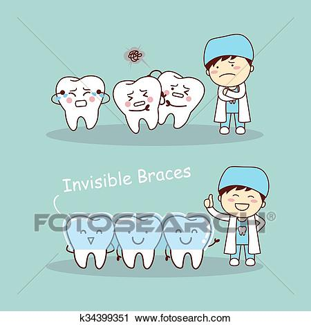 Cute cartoon tooth invisible braces Clipart.