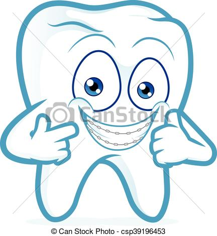 Tooth with braces on teeth.