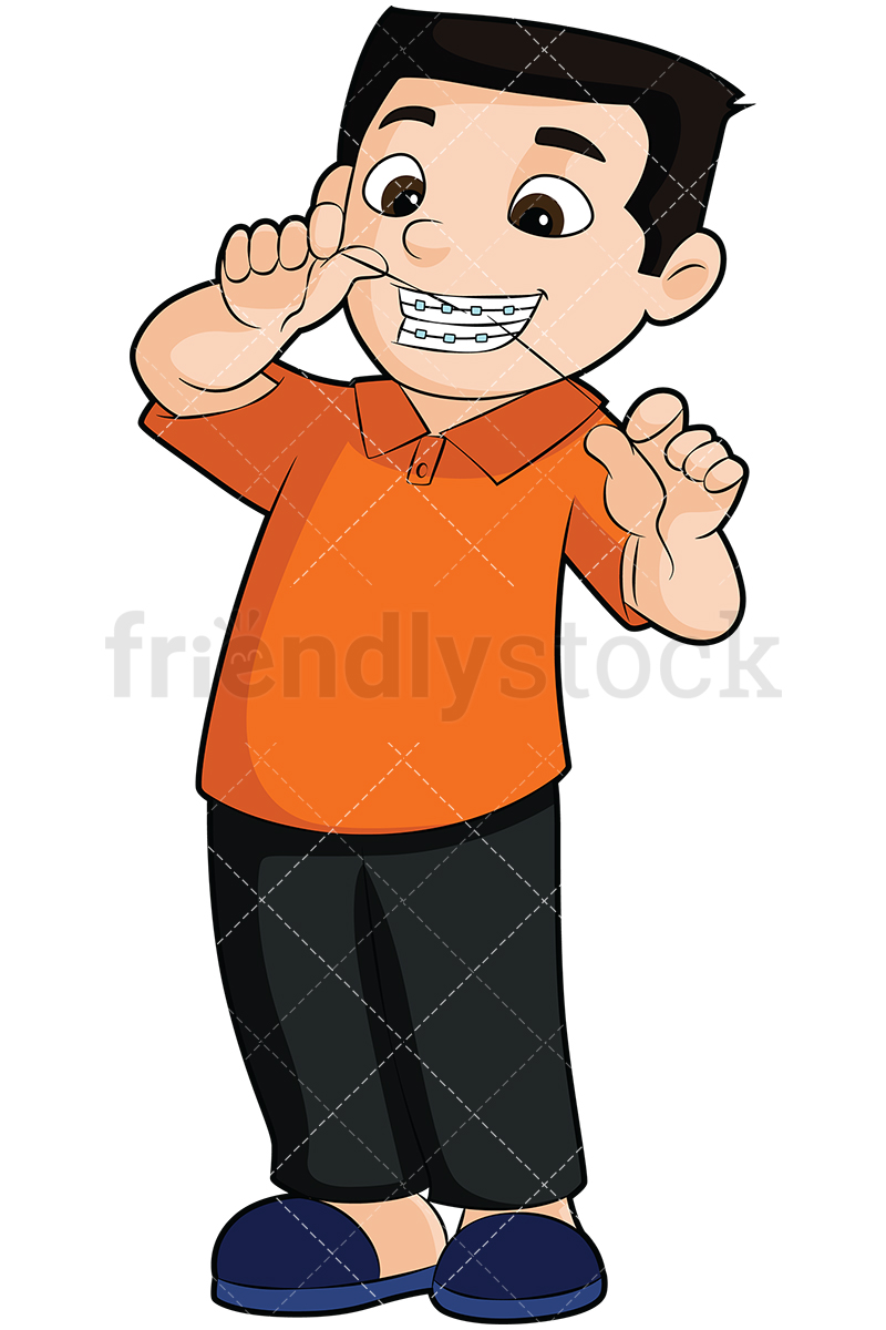 Boy With Braces Flossing His Teeth.