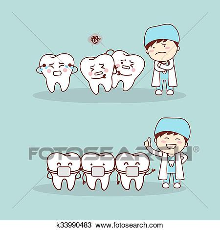 Cute cartoon tooth braces Clipart.