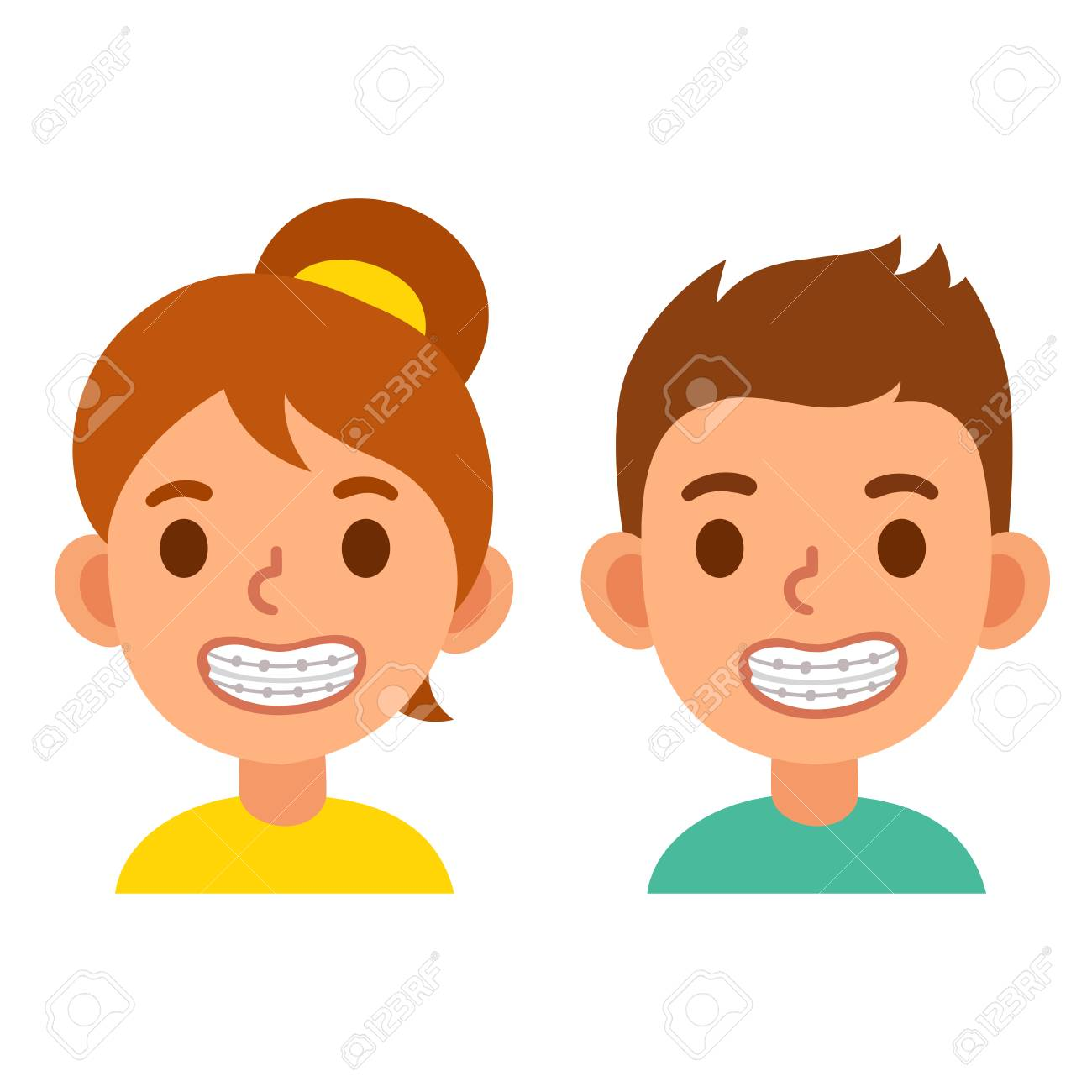 Cute cartoon boy and girl with teeth braces. Smiling kids with...