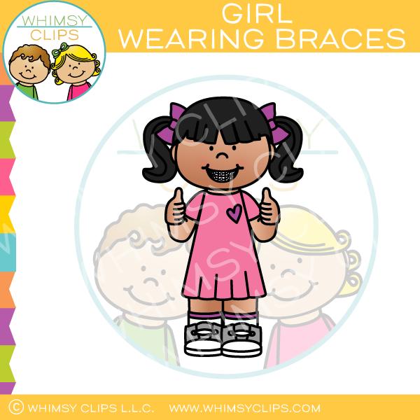 Girl Wearing Braces Clip Art.