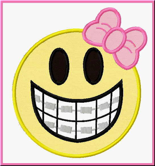 Girl clipart with braces and without.