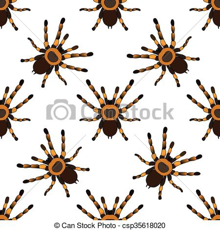 Vector Illustration of Seamless pattern with . tarantula spider.