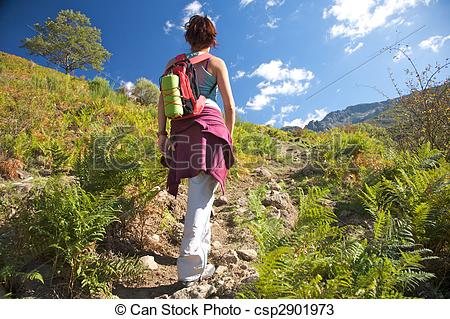 Stock Photos of back woman and bracken.