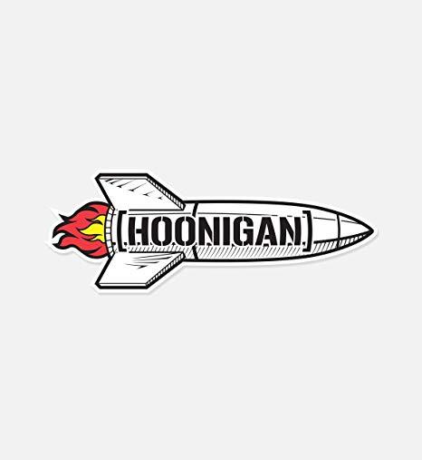 Hoonigan Rocket with Bracket Logo Premium Vinyl Sticker.