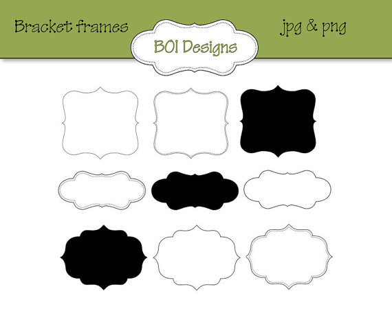 Bracket frames bracketed clip art instant download by BOIdesigns.