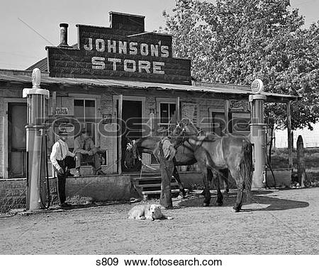 Stock Photograph of 1930S Group Of Three Men Two Horses And A Dog.