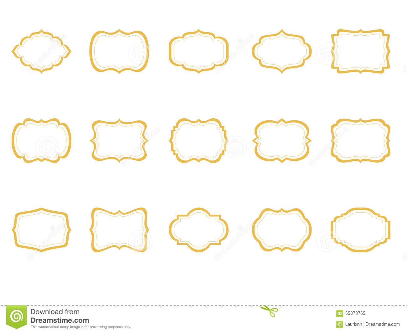 Classic Frames Set Of 15, Borders Clip Art, Gold Etiquette.