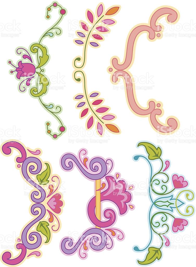 Floral Brackets Clip Art Set stock vector art 163828702.